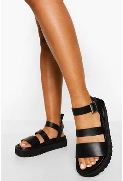 Black Double Strap Sporty Dad Sandal