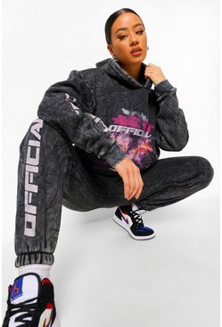 Charcoal grey Acid Wash Official Leg Print Tracksuit