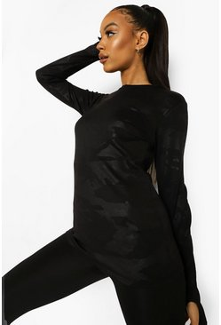 Black Camo Long Sleeve Active Top
