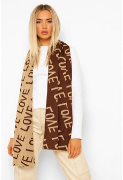 Chocolate brown Love Scarf