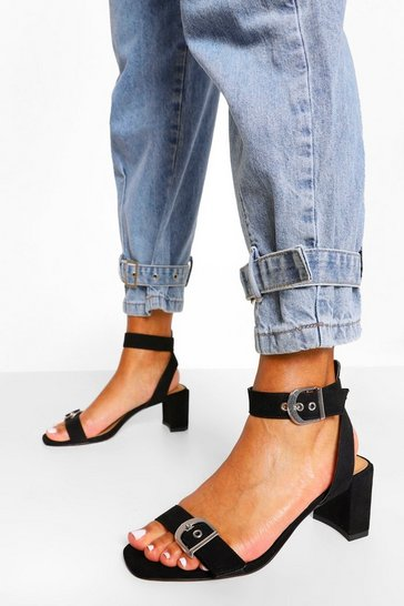 Black Chunky Buckle 2 Part Sandal