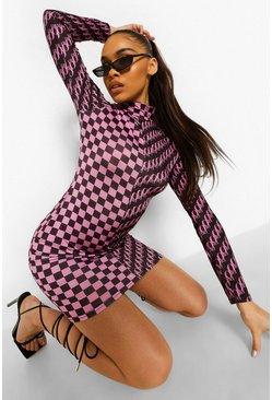 Pink Official Mixed Print Mini Dress