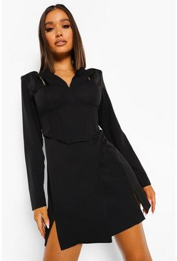 Black Corset Detail Chain Strap Blazer Dress