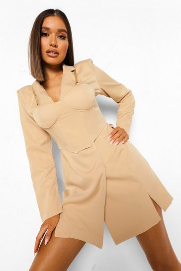 Camel beige Corset Detail Chain Strap Blazer Dress