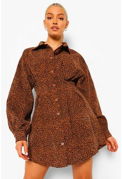 Chocolate brown Leopard Cord Shirt Dress