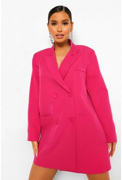 Bright pink pink Oversized Boxy Blazer Dress