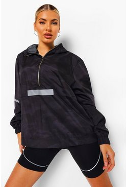 Black Camo Waterproof Running Jacket with Reflective