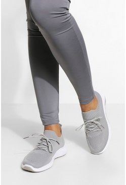 Grey Wide Fit Basic Knitted Sports Trainers