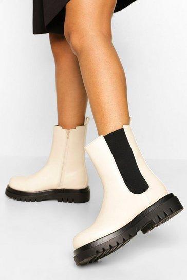 Ecru white Wide Fit Calf High Chunky Chelsea Boots
