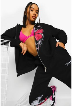 Black Oversized Butterfly Zip Through Tracksuit