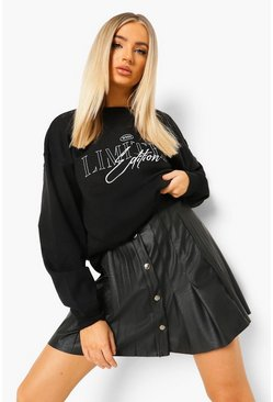 Black Leather Look Pu Pleated Tennis Mini Skirt