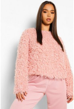 Blush pink Feather Knit Jumper