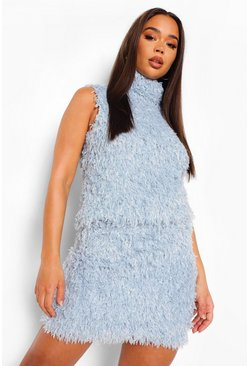 Baby blue blue Feather Knit Roll Neck Tank
