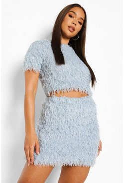 Baby blue blue Feather Knit Crop Top