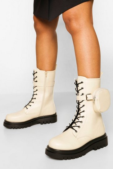Ecru white Wide Fit Calf High Hiker With Pouch
