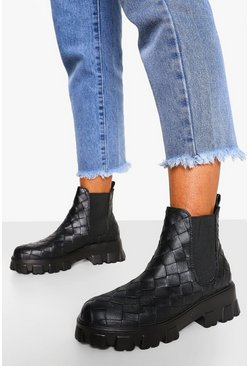 Black Woven Chunky Platform Chelsea Boots