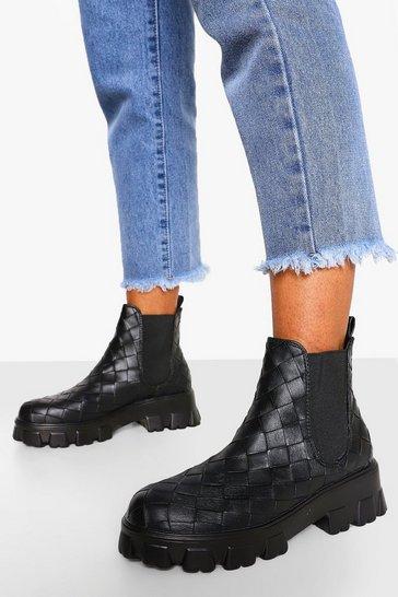Black Woven Chunky Platform Chelsea Boots