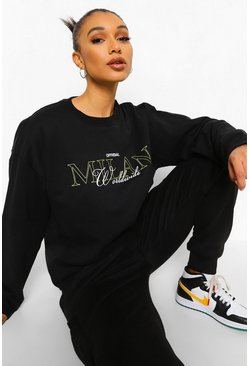 Black Oversized Slogan Sweatshirt