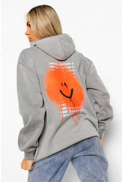 Charcoal grey Back Print Acid Wash Oversized Hoodie
