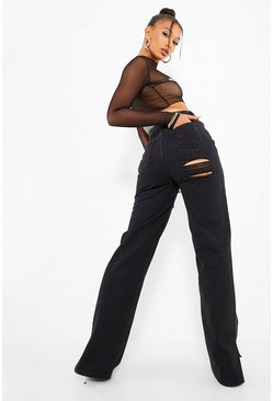Washed black Straight Leg Jeans With Bum Rip & Split Hem