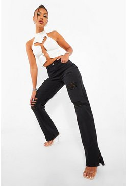 Washed black Ripped Straight Leg Jeans With Split Hem