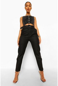 Black Self Fabric Belted Jean