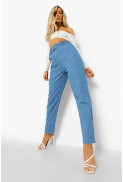 Mid blue blue Self Fabric Belted Jean