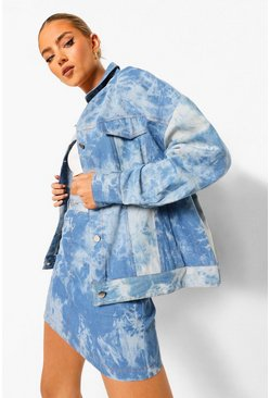 Light blue blue Bleached Denim Oversized Jacket