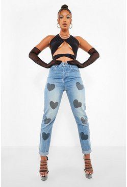 Mid blue blue High Waist Heart Print Mom Jean