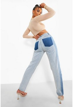 Bleach wash High Waist Contrast Denim Mom Jeans