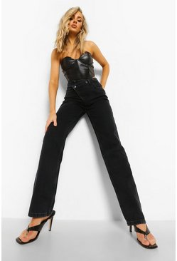 Washed black Asymmetric Relaxed Straight Leg Jeans