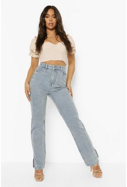 Ice blue Washed Split Hem Straight Leg Jean