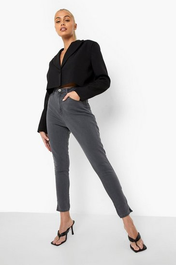 Light grey grey Basic Stretch Split Hem Skinny Jean