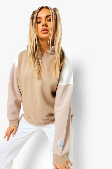 Taupe beige Official Product Colour Block Half Zip Sweater