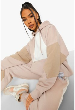 Taupe beige Official Product Colour Block Hoodie