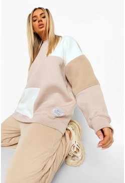 Sweat color block Official, Taupe beige