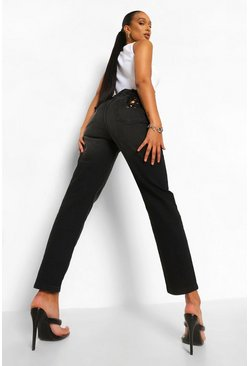 Washed black Skinny Rigid Jeans With Back Lace Up Detail