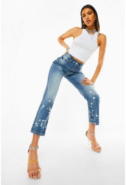 Mid blue blue High Waist Skinny Jean With Bleached Zip Hem
