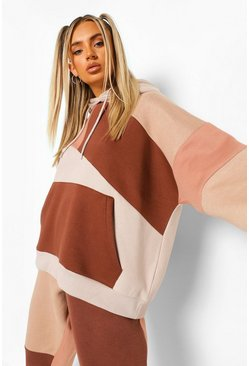 Taupe Tonal Colour Block Patchwork Hoodie