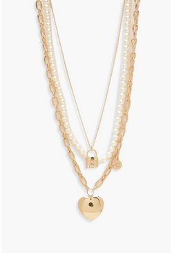 Gold metallic Pearl Padlock & Heart Layered Necklace