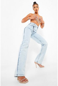 Ice blue Asymmetric Washed Relaxed Straight Leg Jeans
