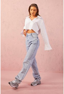 Light blue blue Asymmetric Relaxed Straight Leg Jeans