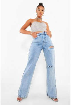 Ice blue Acid Wash Rip Split Hem Jeans