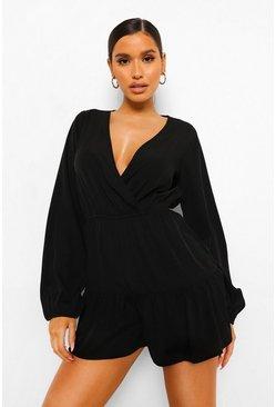 Black Tiered Wrap Playsuit