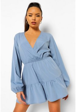 Blue Tiered Wrap Playsuit