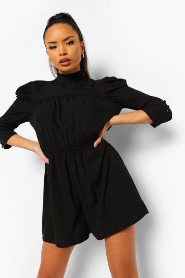 Black High Neck Puff Sleeve Playsuit