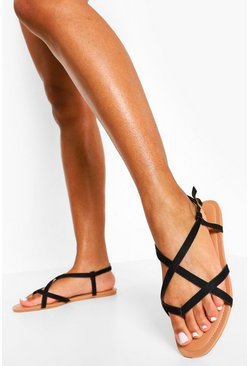 Black Toe Post Strappy Basic Sandal