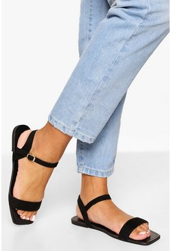Black Square Toe 2 Part Sandal