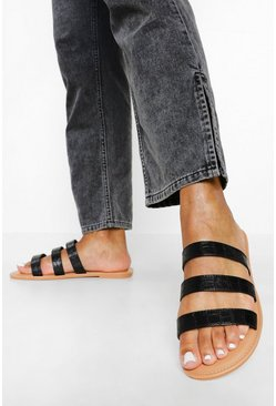 Black Wide Fit Triple Strap Croc Mule
