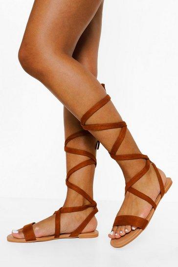 Tan brown Wide Fit Basic Ankle Wrap Sandal